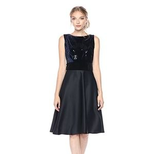 Taylor Beaded Velvet and Satin Fit and Flare Dress